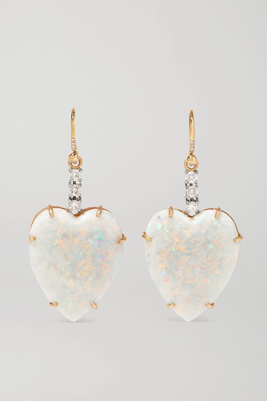Irene Neuwirth Love 18-karat rose and white gold, opal and diamond earrings