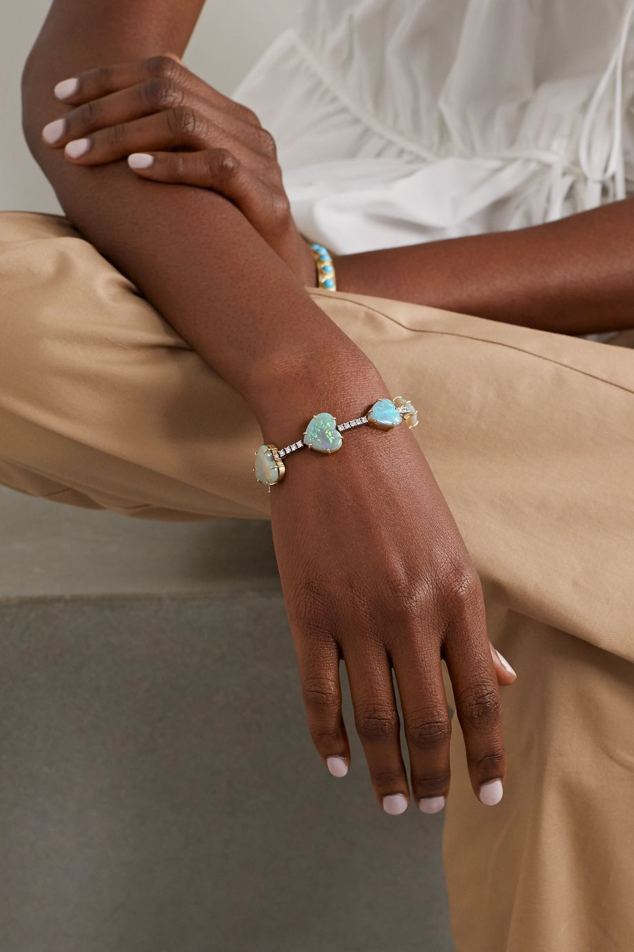 Irene Neuwirth Love 18-karat yellow and white gold, opal and diamond bracelet
