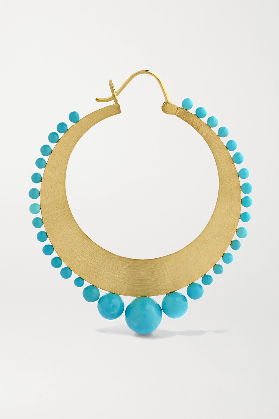 Irene Neuwirth Gumball 18-karat gold turquoise hoop earrings