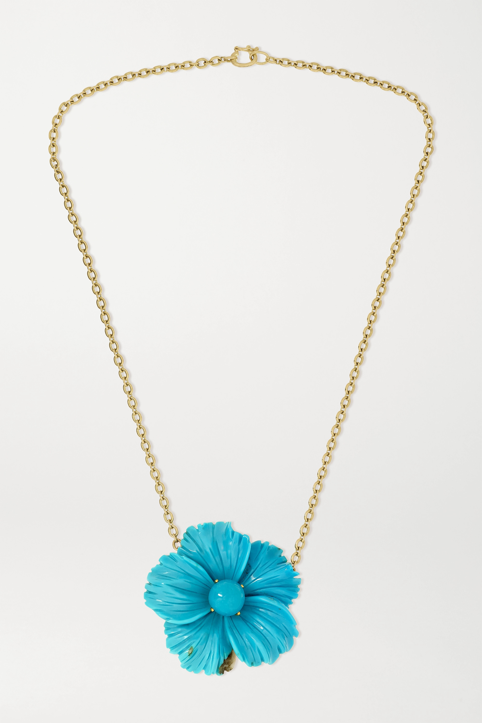 Irene Neuwirth Collier en or 18 carats et turquoise Tropical Flower