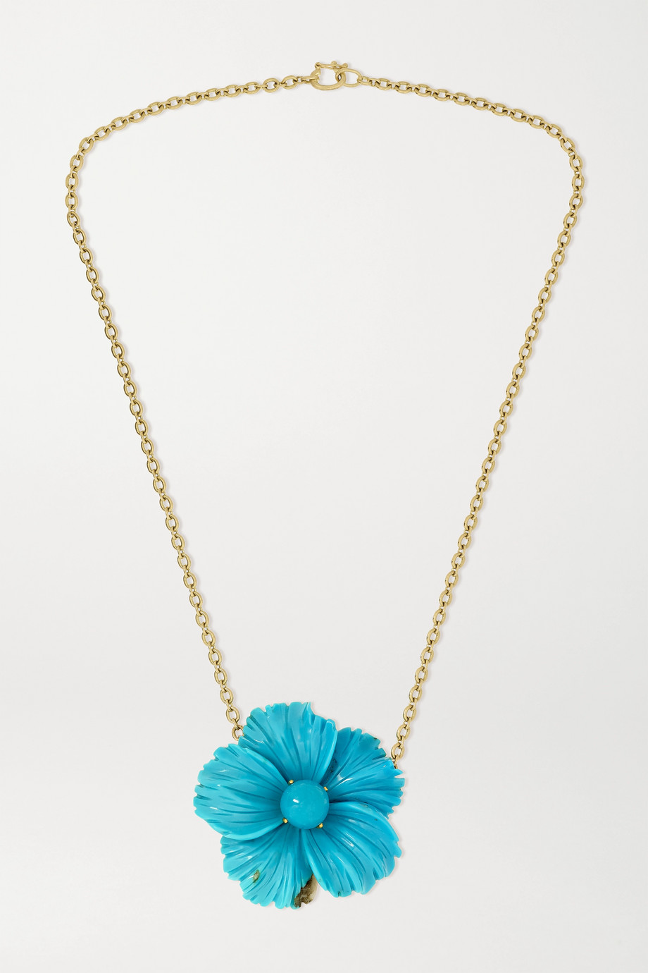 Irene Neuwirth Tropical Flower 18-karat gold turquoise necklace