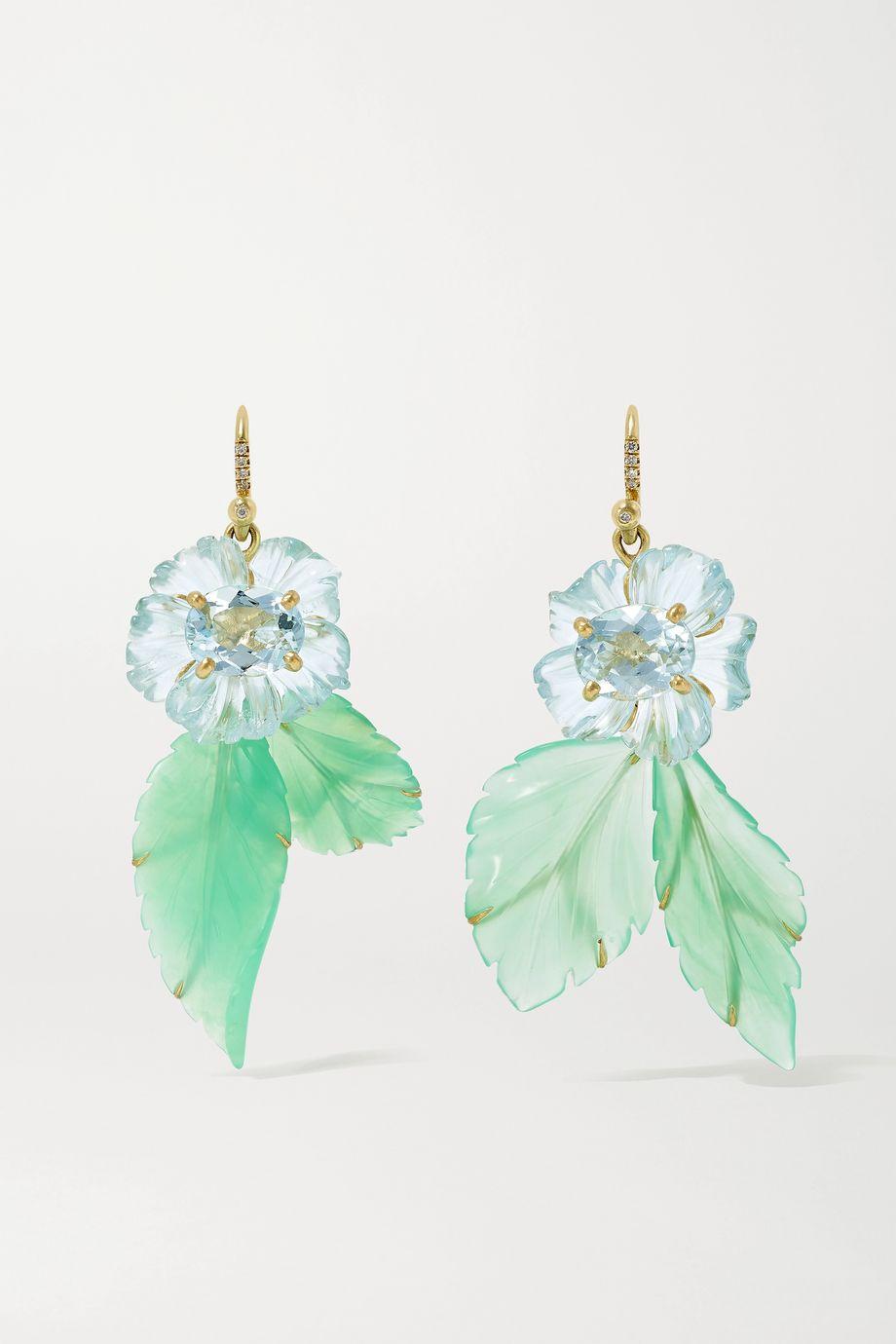 Irene Neuwirth Boucles d'oreilles en or 18 carats et pierres multiples Tropical Flower