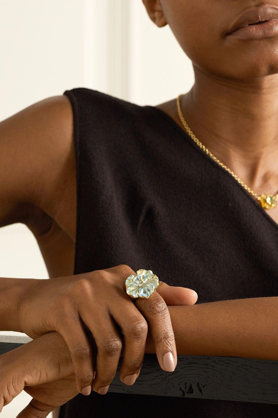 Irene Neuwirth Tropical Flower 18-karat gold aquamarine ring