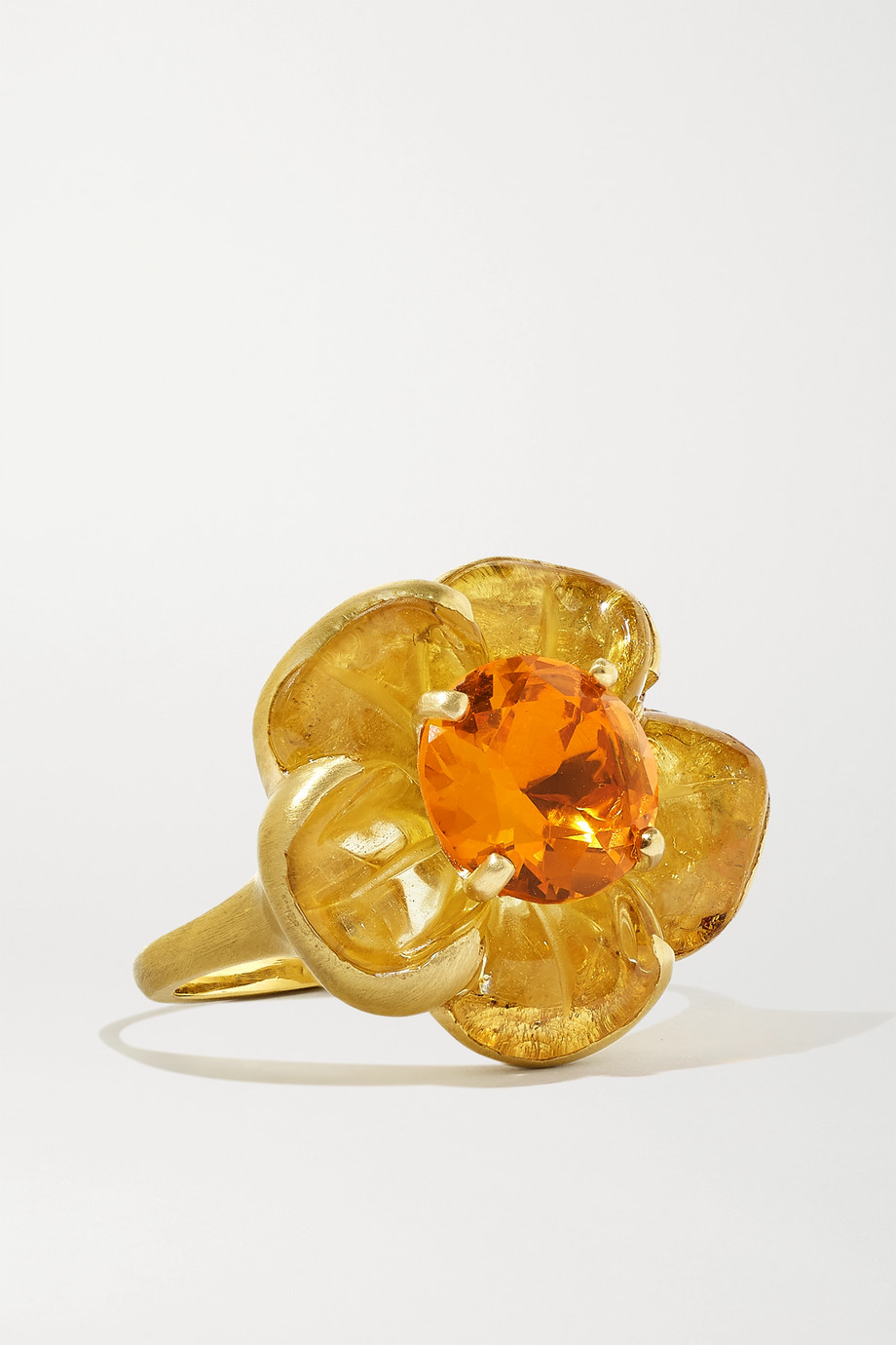Irene Neuwirth Tropical Flower 18-karat gold, beryl and fire opal ring