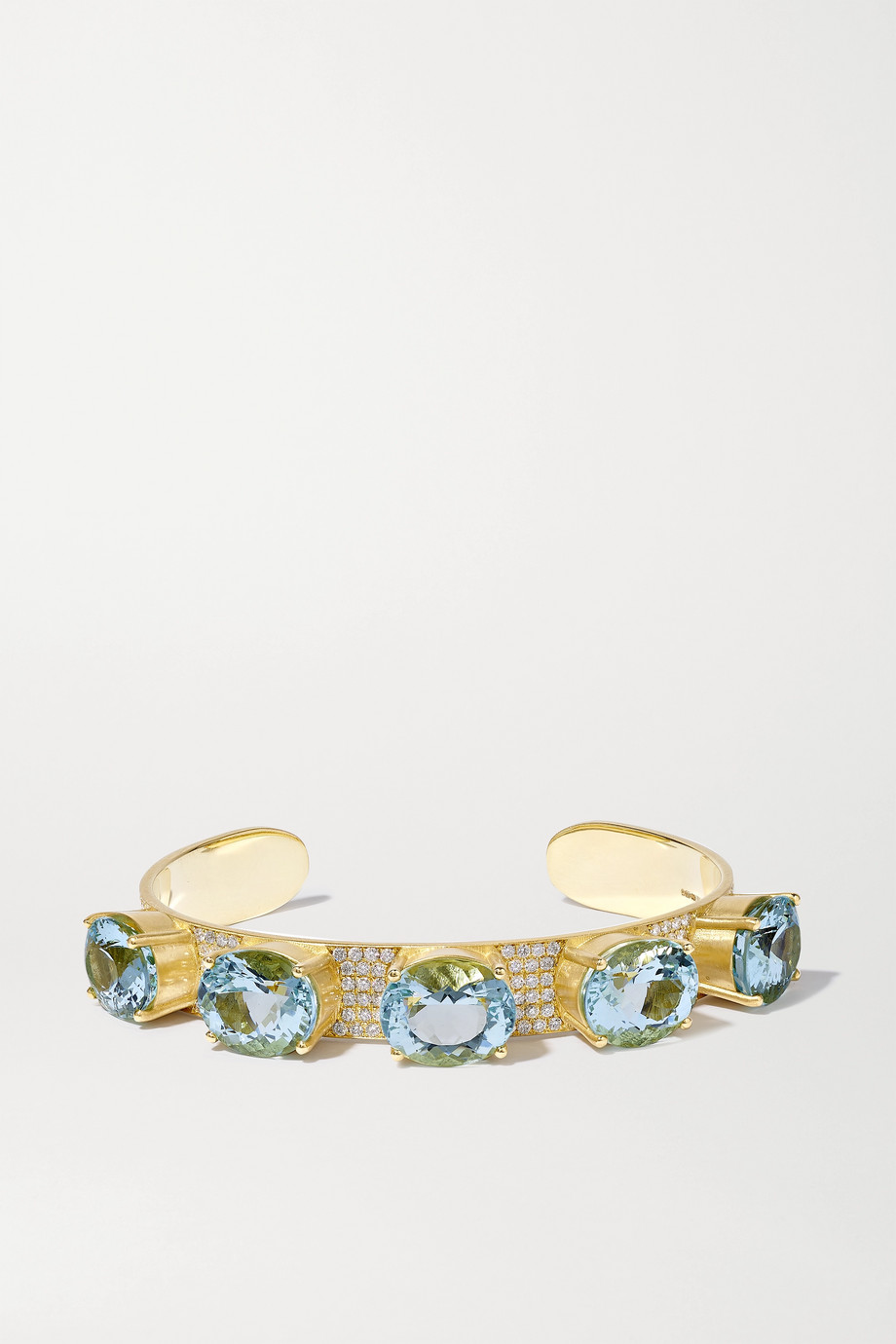Irene Neuwirth Gemmy Gem 18-karat gold, aquamarine and diamond cuff