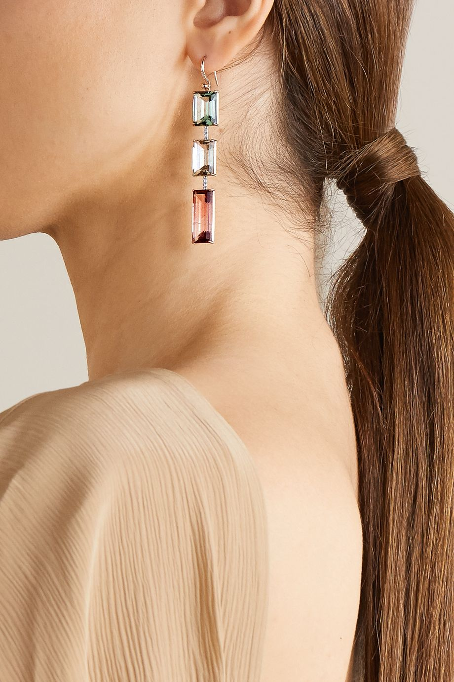 Irene Neuwirth Gemmy Gem 18-karat rose gold, tourmaline and diamond earrings