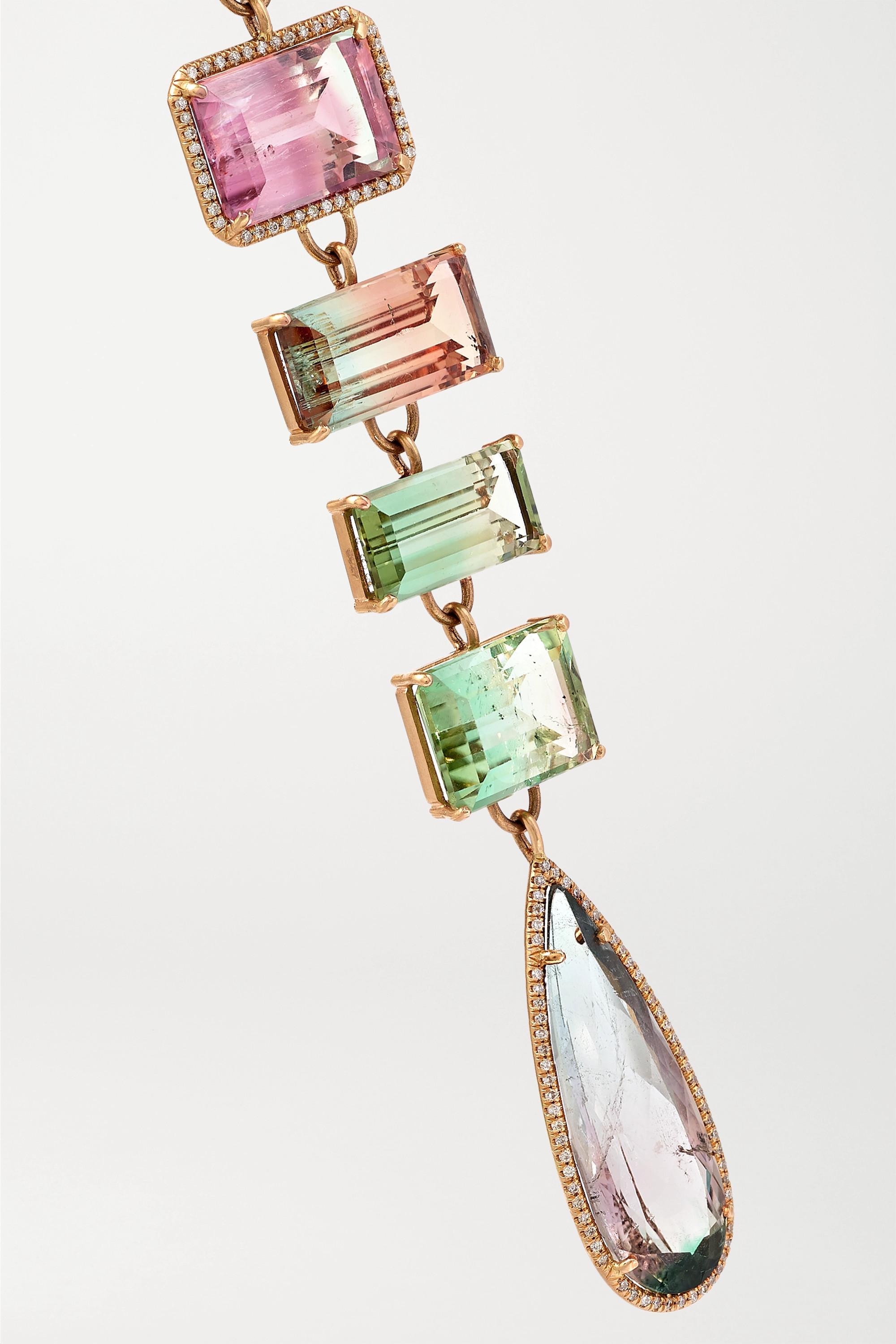 Irene Neuwirth Collier en or rose 18 carats, tourmalines et diamants Gemmy Gem