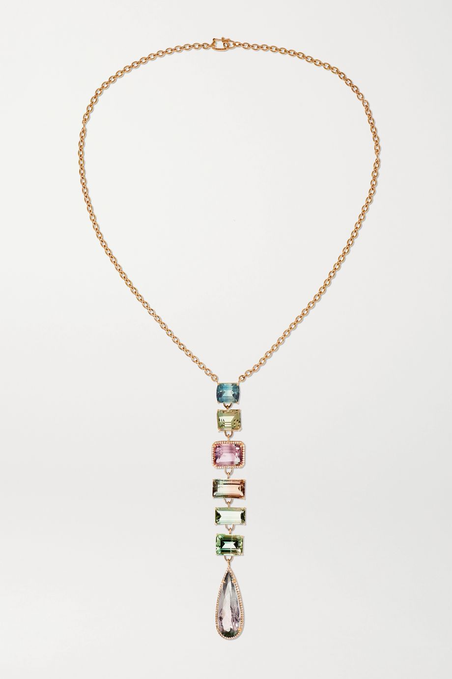 Irene Neuwirth Gemmy Gem 18-karat rose gold, tourmaline and diamond necklace