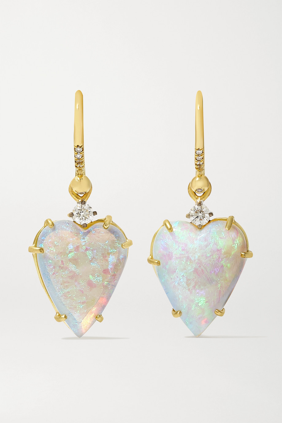 Irene Neuwirth Love 18-karat white and yellow gold, opal and diamond earrings