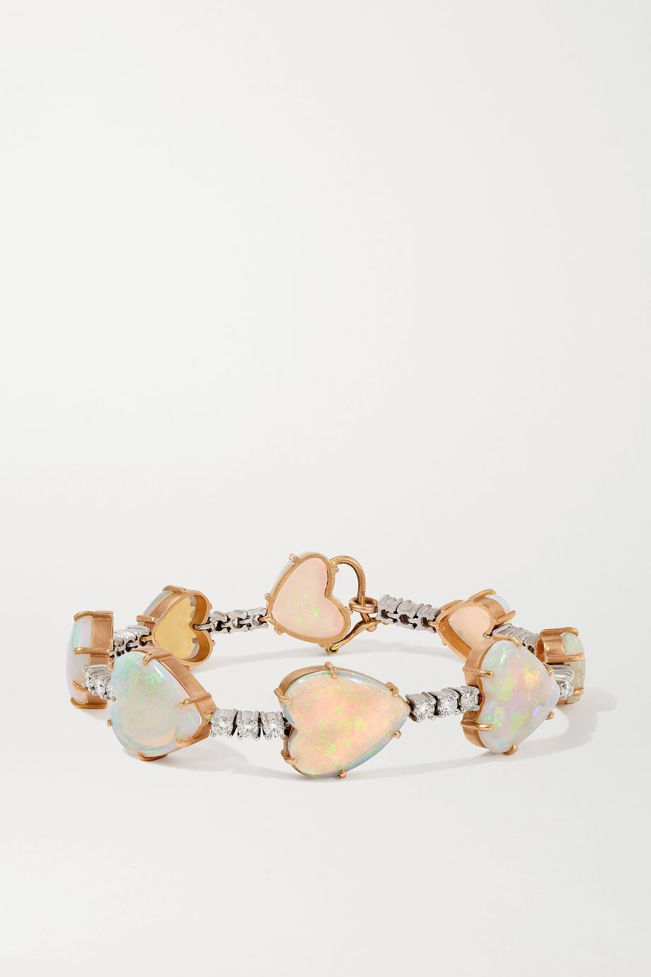 Irene Neuwirth Love 18-karat rose and white gold, opal and diamond bracelet