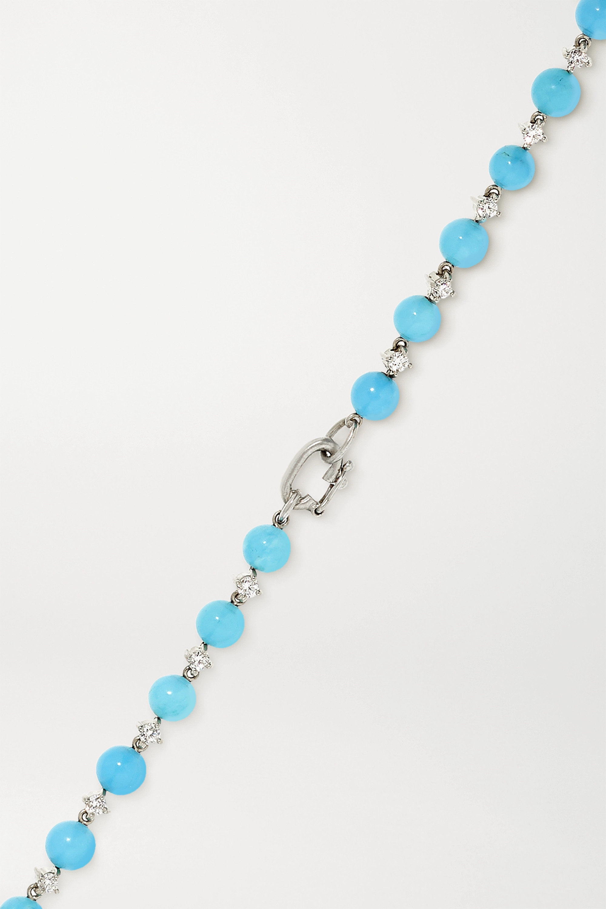 Irene Neuwirth Collier en or blanc 18 carats, turquoises et diamants Gumball