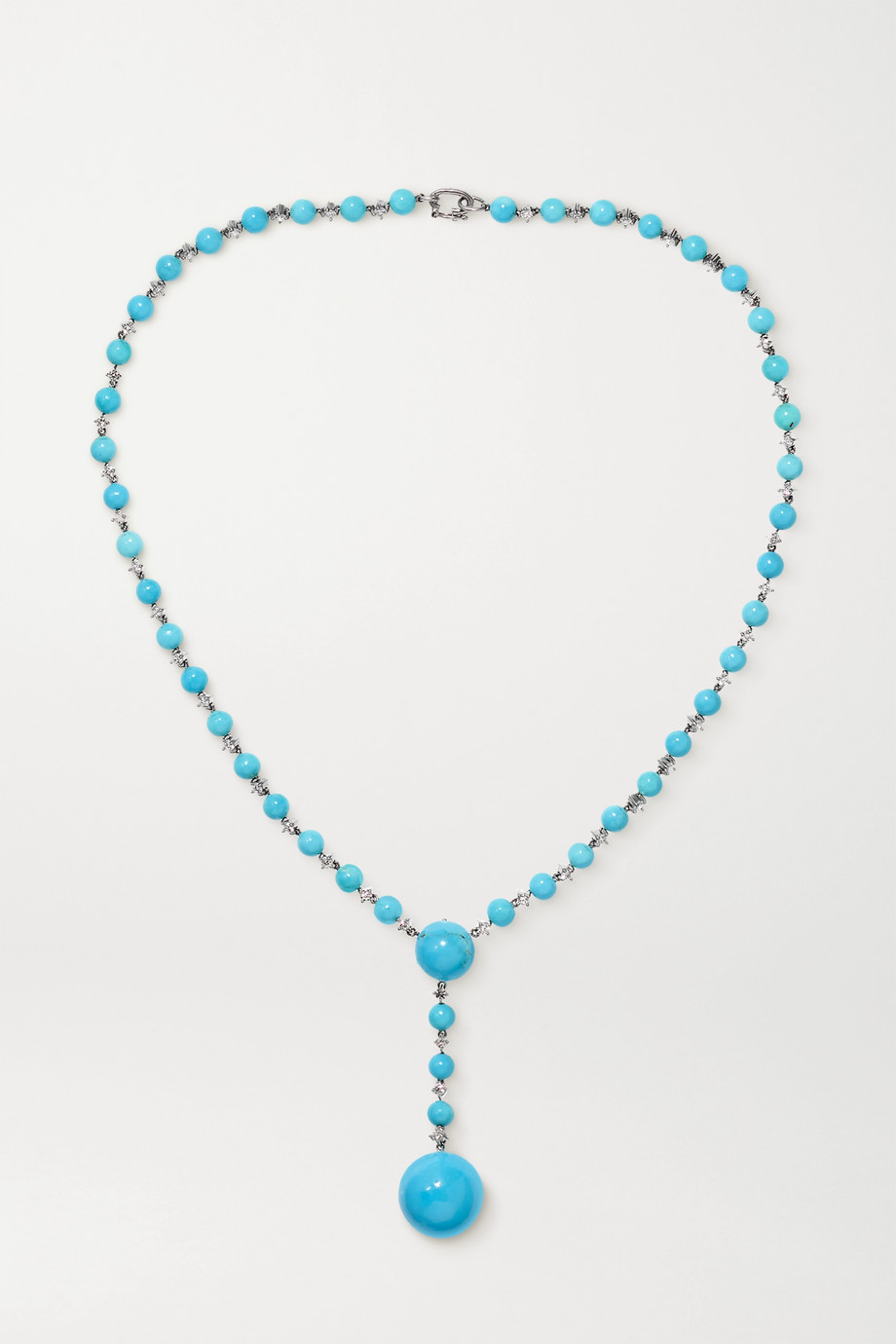 Irene Neuwirth Gumball 18-karat white gold, turquoise and diamond necklace