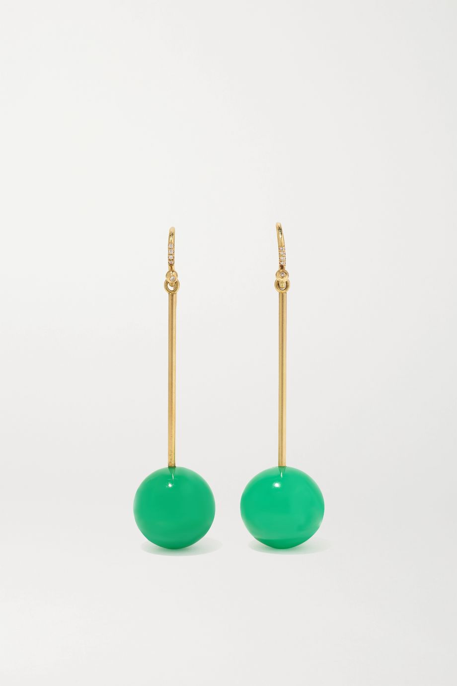 Irene Neuwirth Gumball 18-karat gold, chrysoprase and diamond earrings