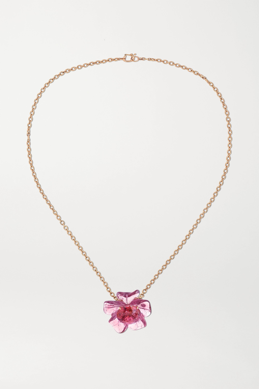 Irene Neuwirth Tropical Flower 18-karat rose gold tourmaline necklace