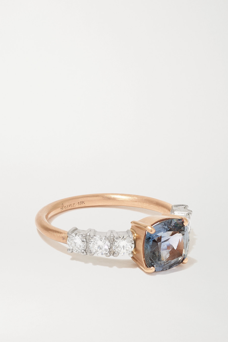Irene Neuwirth Tennis 18-karat rose and white gold, sapphire and diamond ring