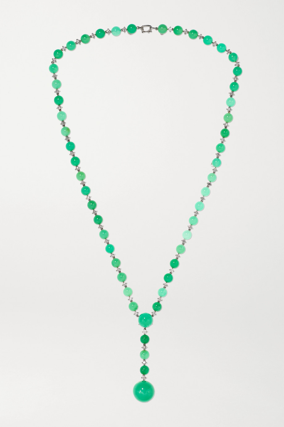 Irene Neuwirth Gumball 18-karat white gold, chrysoprase and diamond necklace