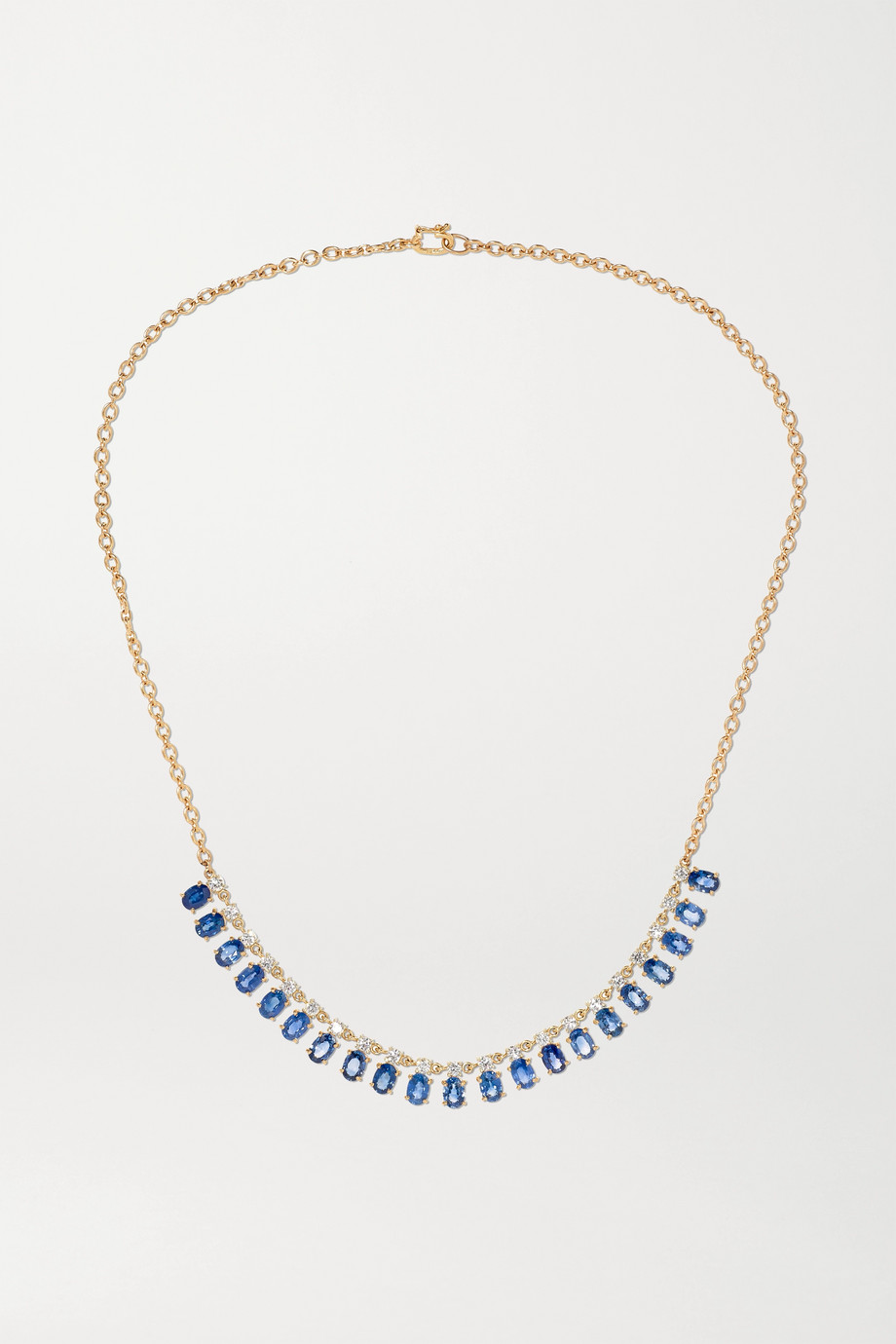 Irene Neuwirth 18-karat rose and white gold, sapphire and diamond necklace