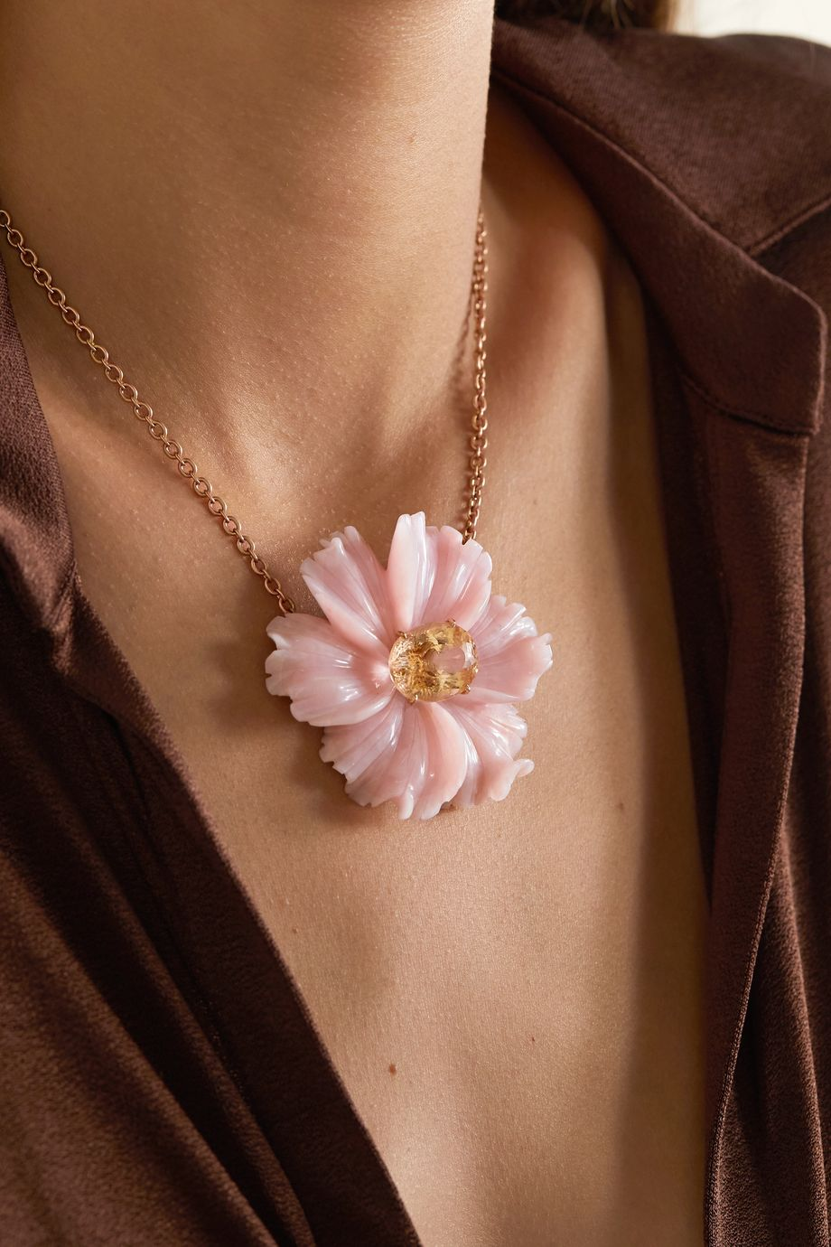 Irene Neuwirth Tropical Flower 18-karat rose gold, opal and tourmaline necklace