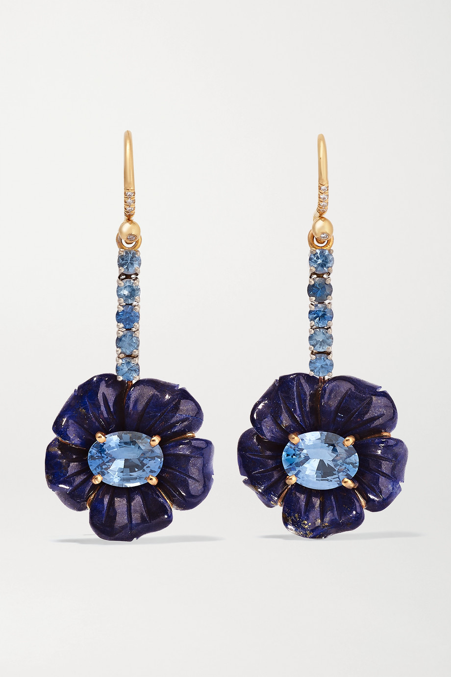 Irene Neuwirth Tropical Flower 18-karat rose and white gold, lapis lazuli, sapphire and diamond earrings