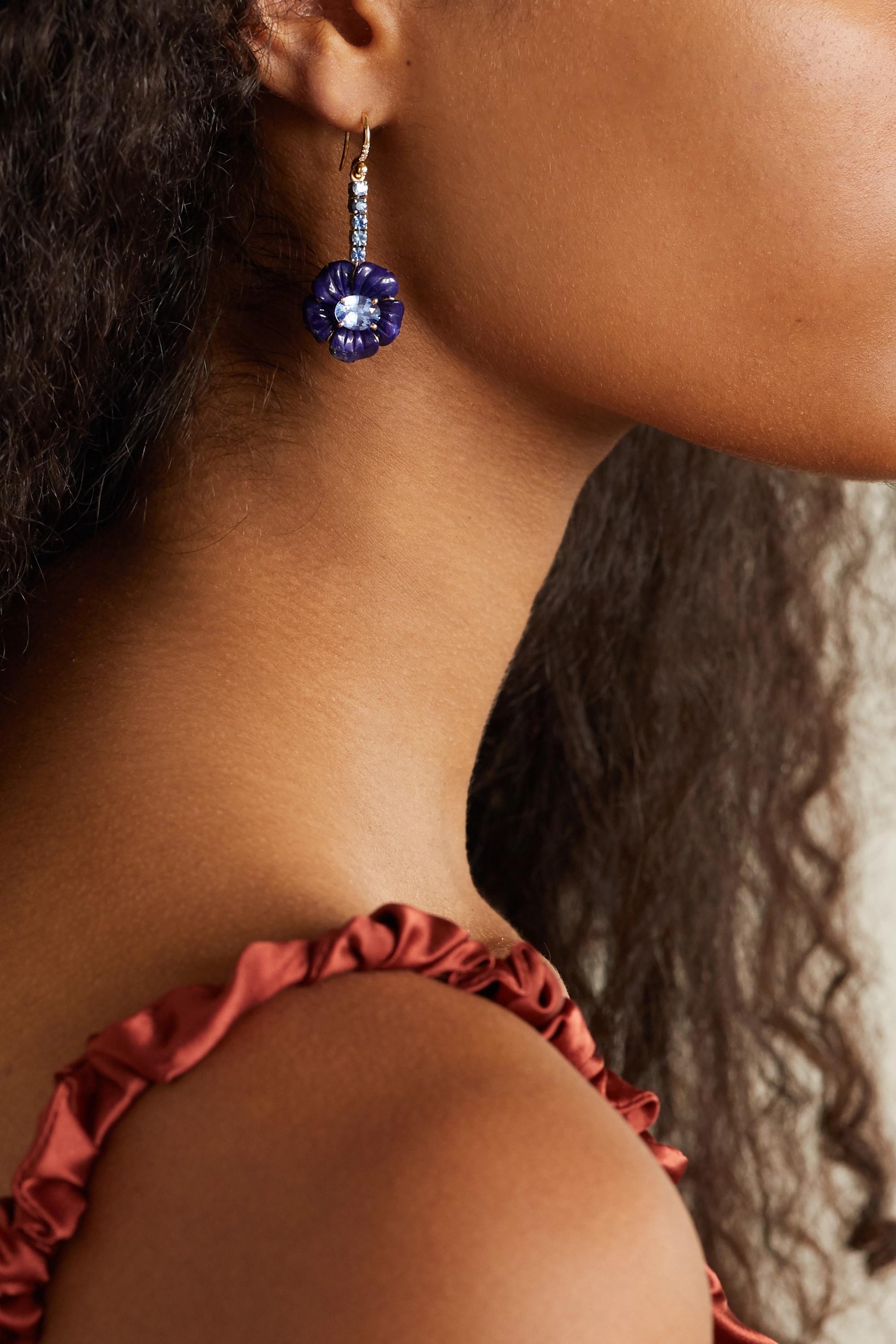Irene Neuwirth Tropical Flower 18K 玫瑰金、18K 白金、青金石、蓝宝石、钻石耳环