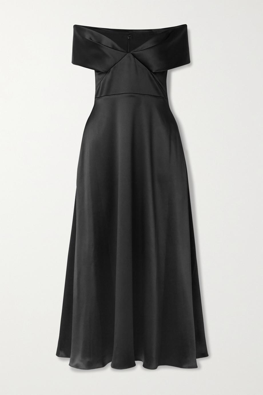 Brandon Maxwell Off-the-shoulder satin midi dress