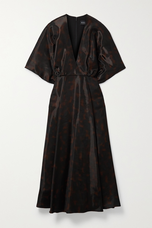 Brandon Maxwell - Gathered printed gazar midi dress