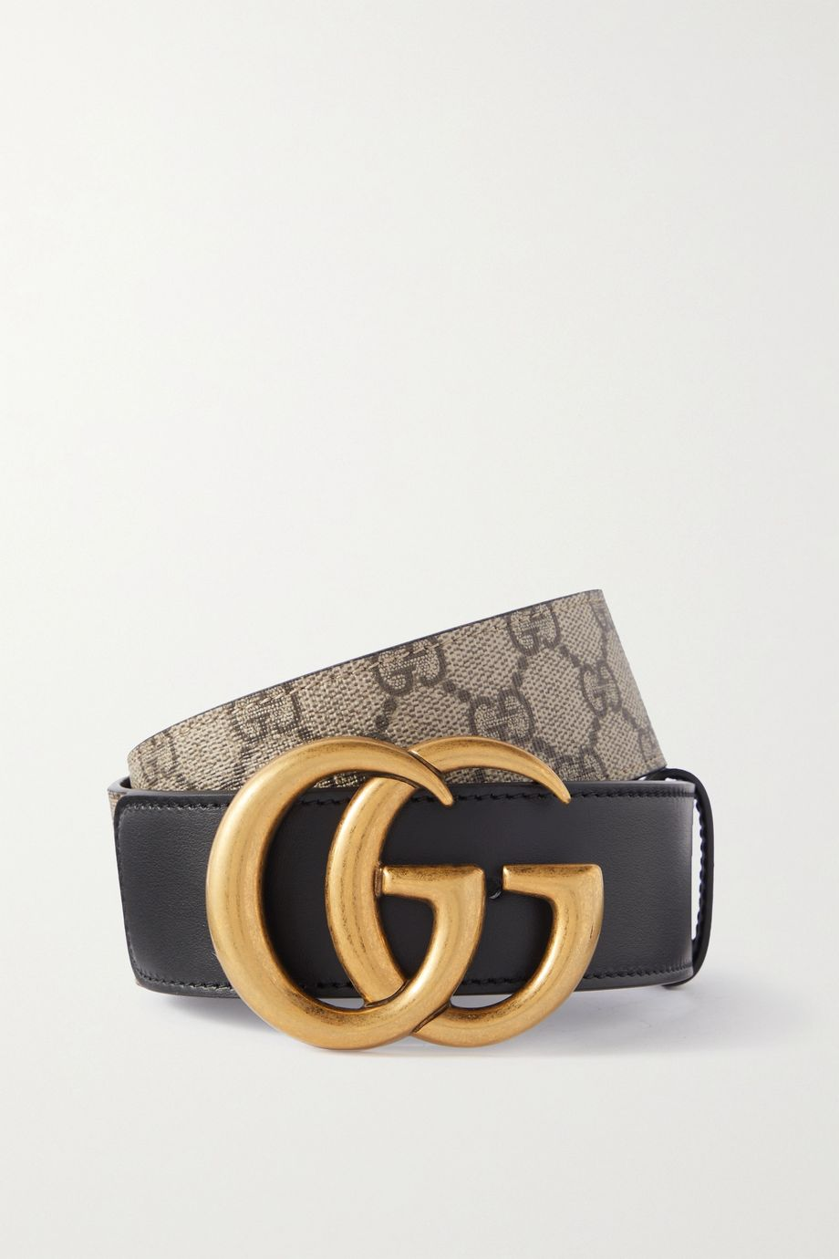 Gucci Leather-trimmed printed coated-canvas belt