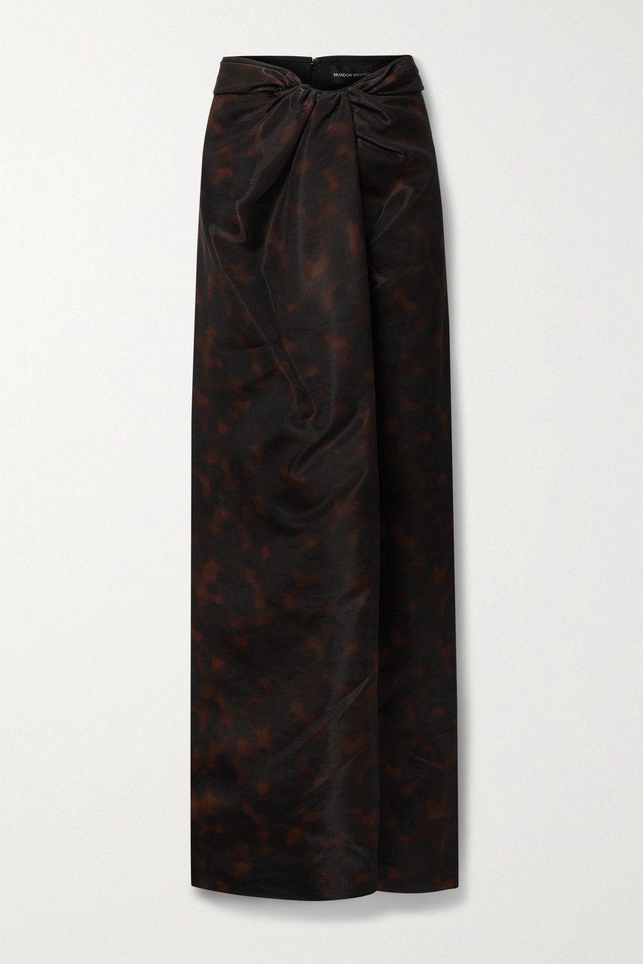 Brandon Maxwell Draped printed gazar maxi skirt