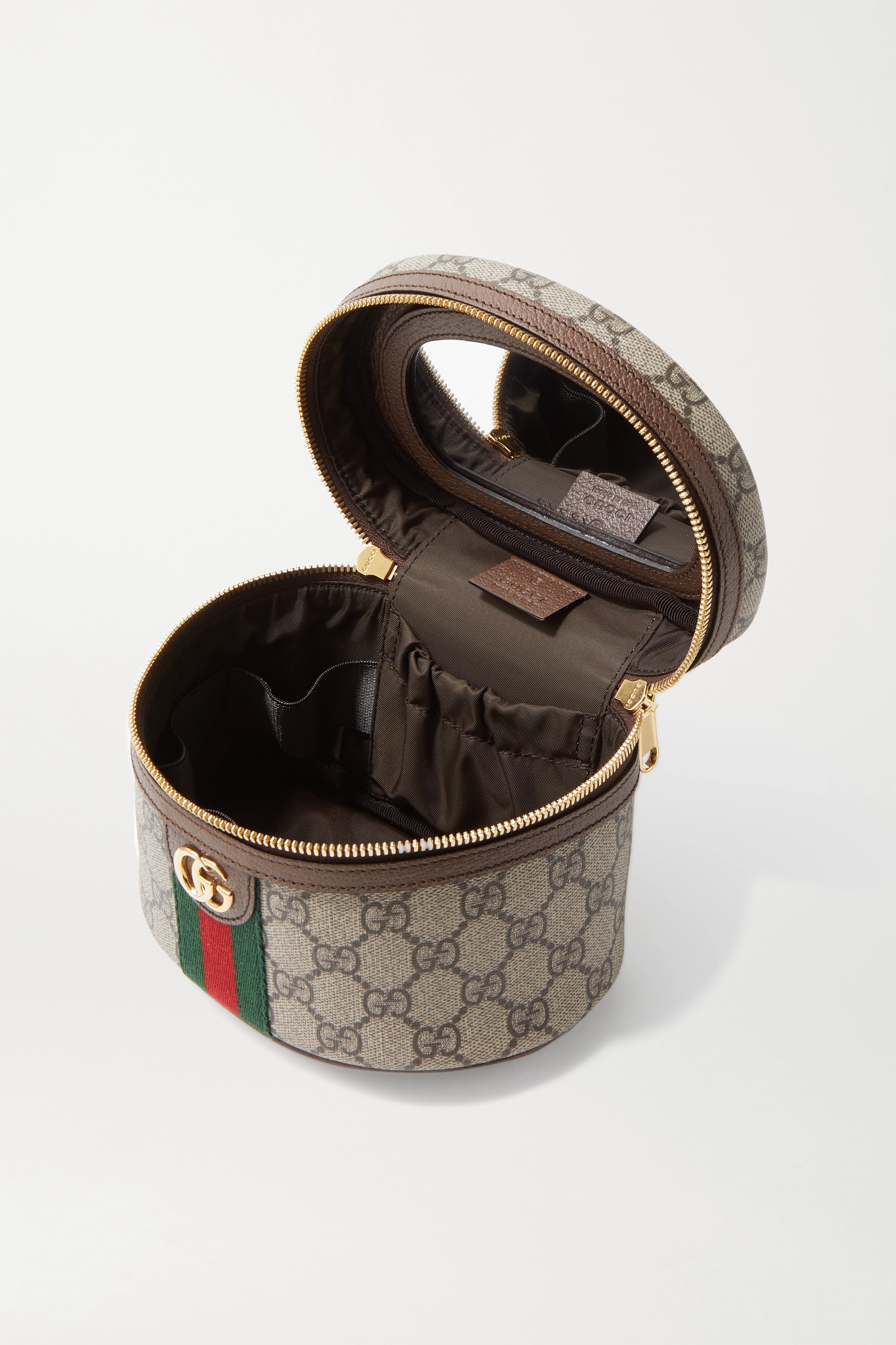 Gucci Ophidia textured leather-trimmed printed coated-canvas cosmetics case