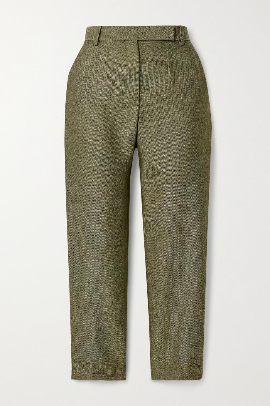 Brandon Maxwell Cropped herringbone wool straight-leg pants