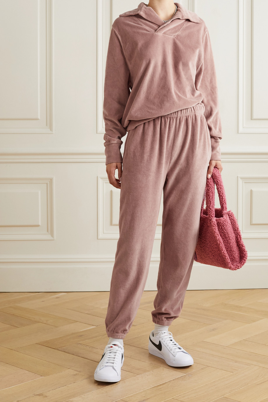 Les Tien 棉质混纺密丝绒运动裤