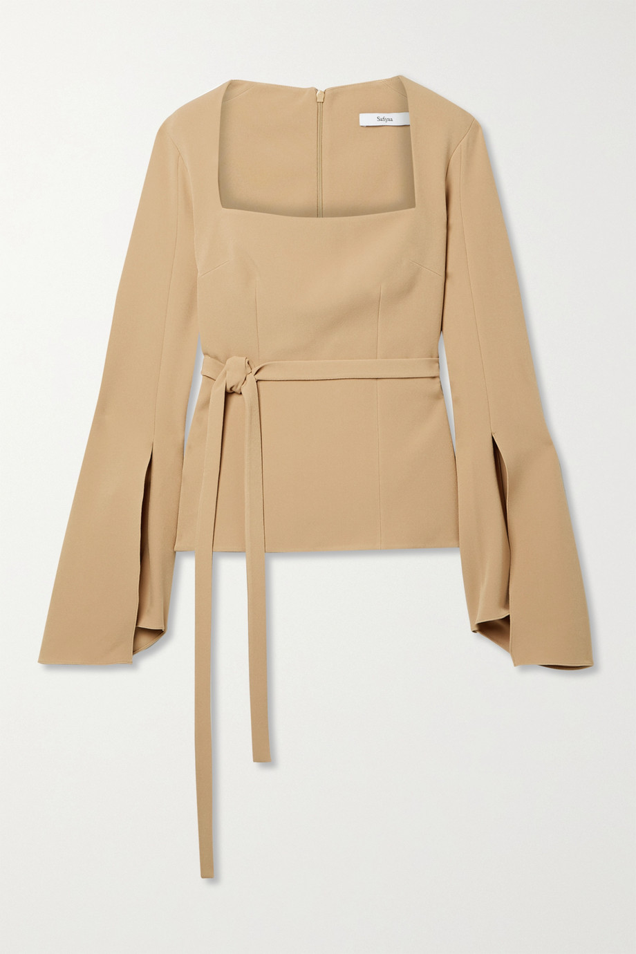 Safiyaa Emalyn belted stretch-crepe top