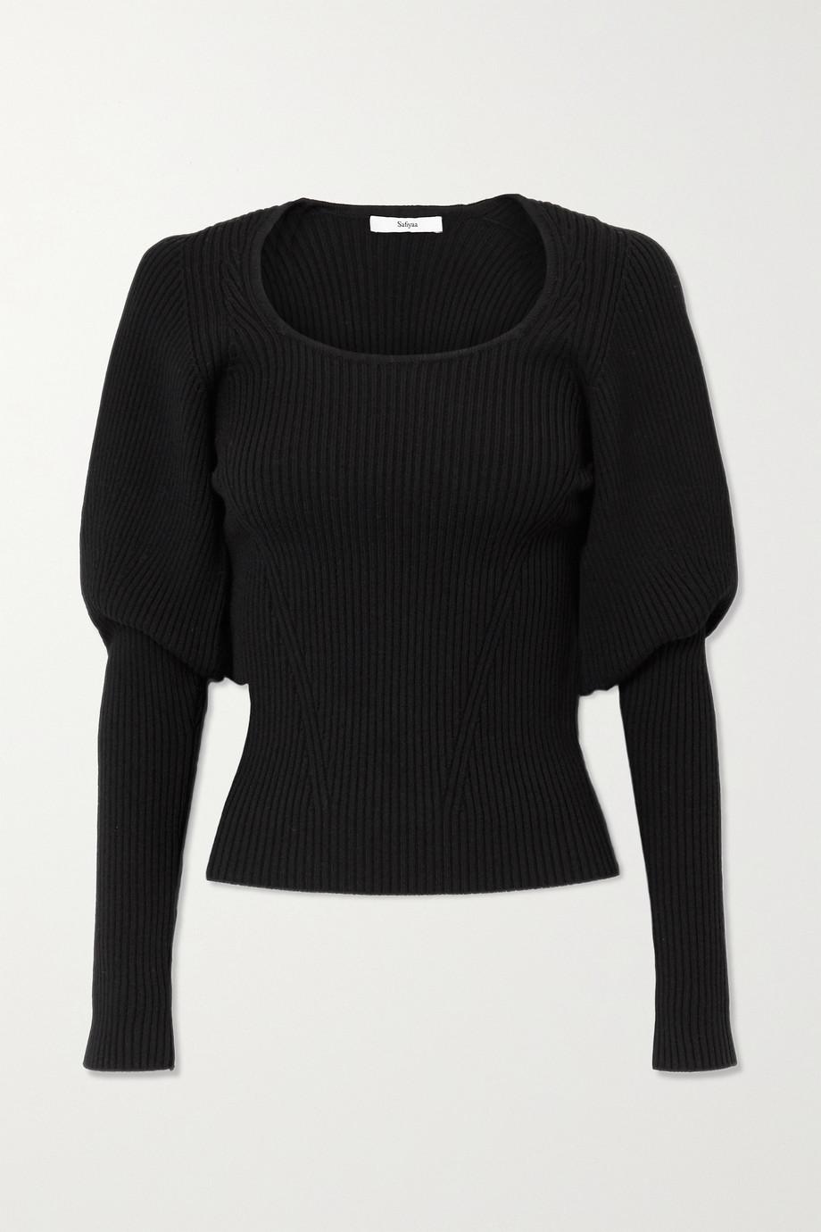 Safiyaa Beryl ribbed wool-blend top