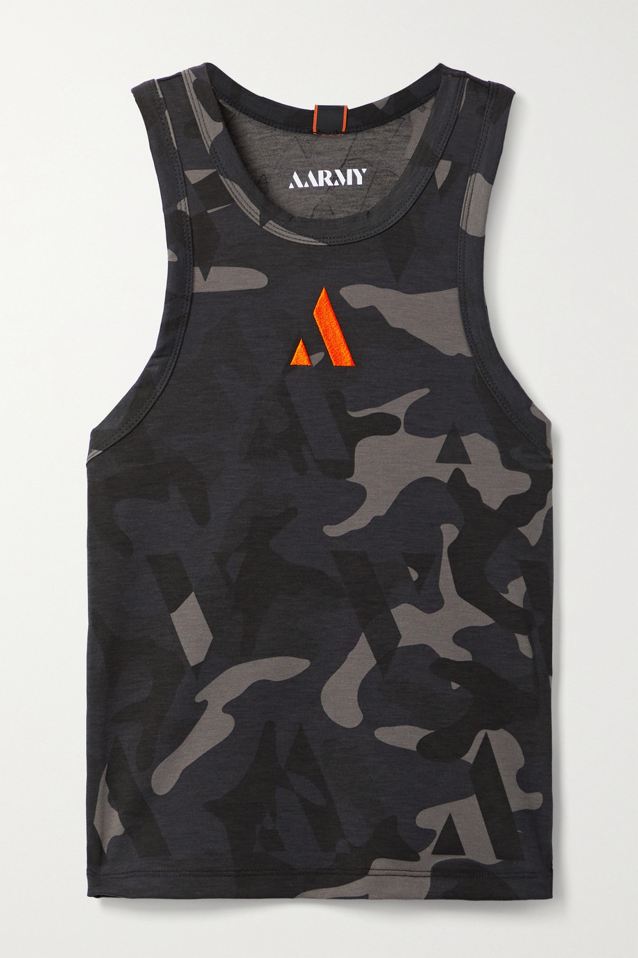 AARMY Echo embroidered camouflage-print stretch-jersey tank