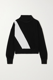 AARMY Two-tone cotton-jersey turtleneck sweatshirt