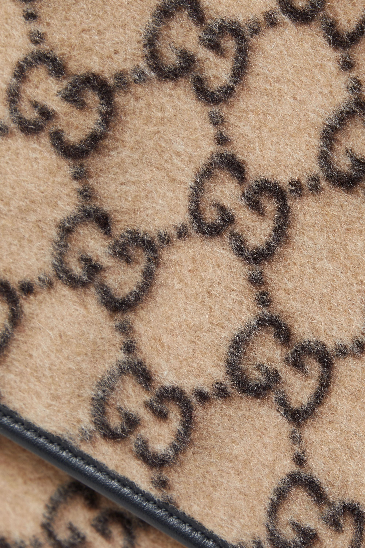 Gucci Leather-trimmed printed felt diaper bag