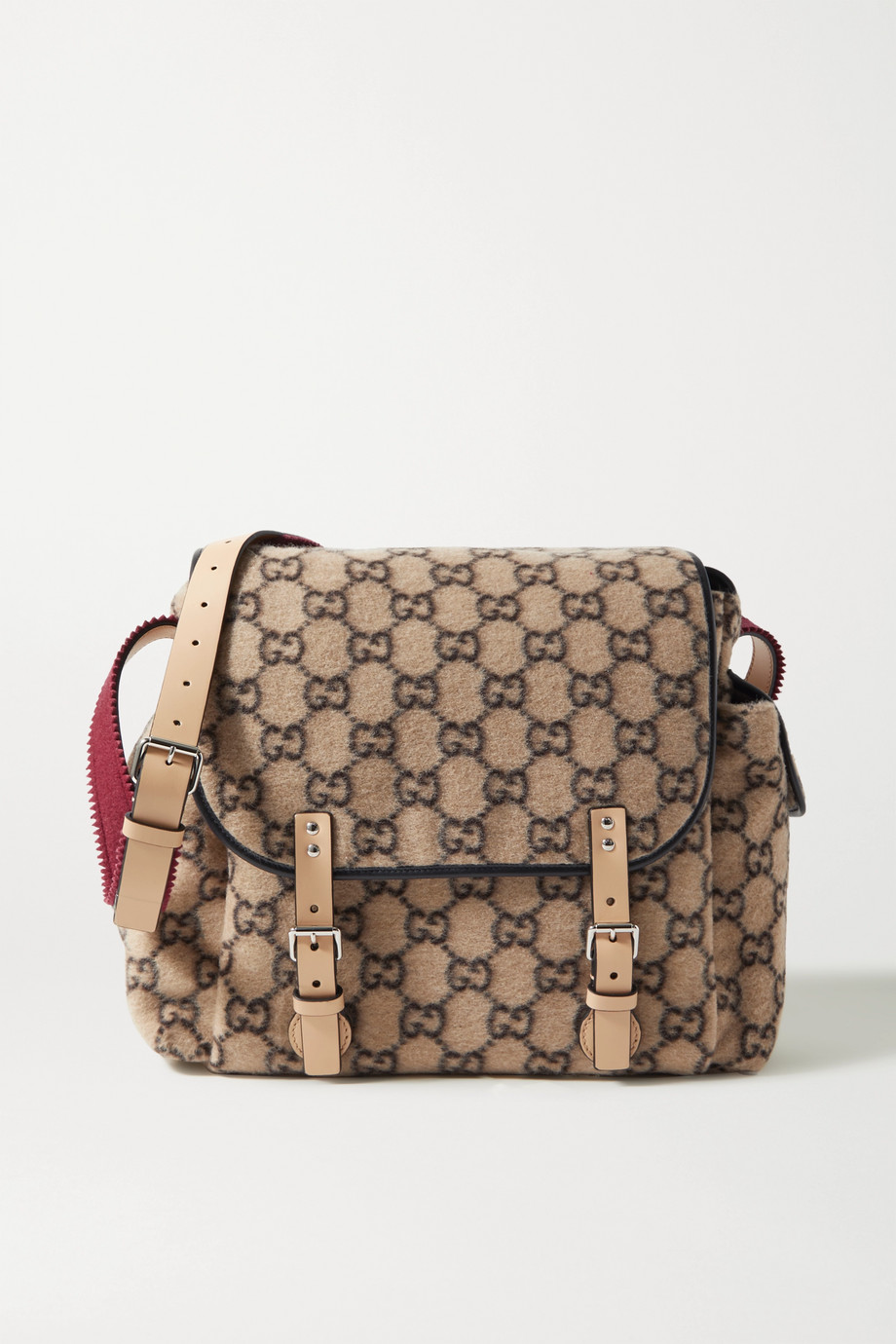 Gucci Leather-trimmed printed felt diaper bag