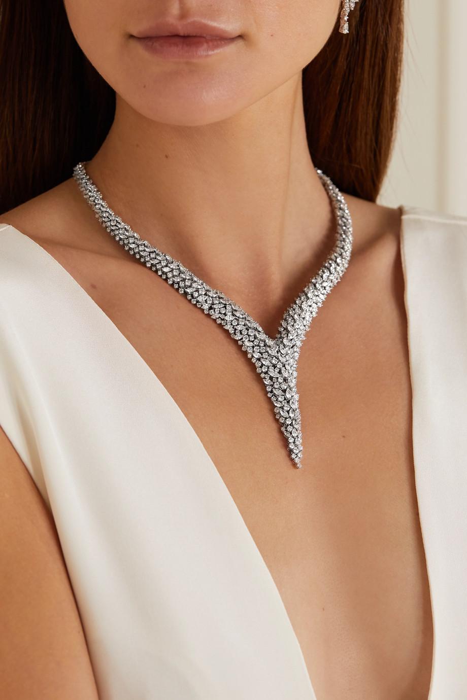 YEPREM 18-karat white gold diamond necklace