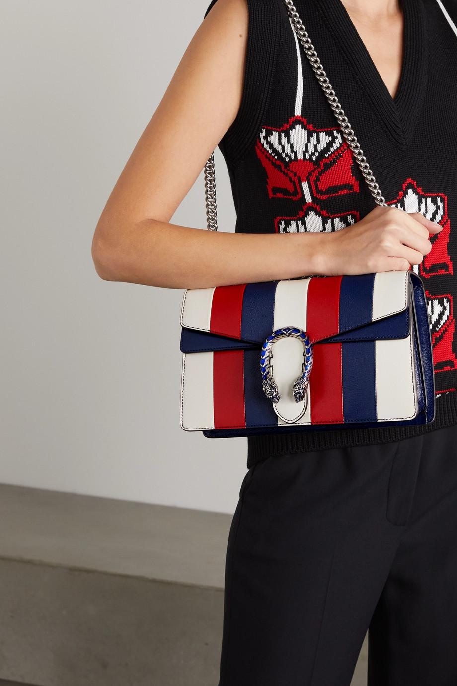 Gucci + NET SUSTAIN Dionysus kleine Schultertasche aus Leder mit Streifen