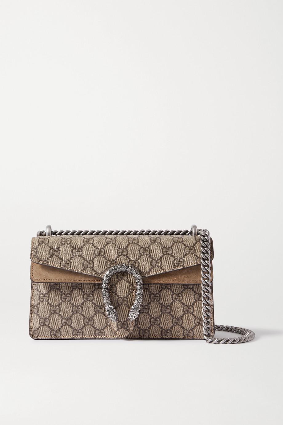 Gucci Dionysus kleine Schultertasche aus beschichtetem Canvas mit Print und Veloursleder