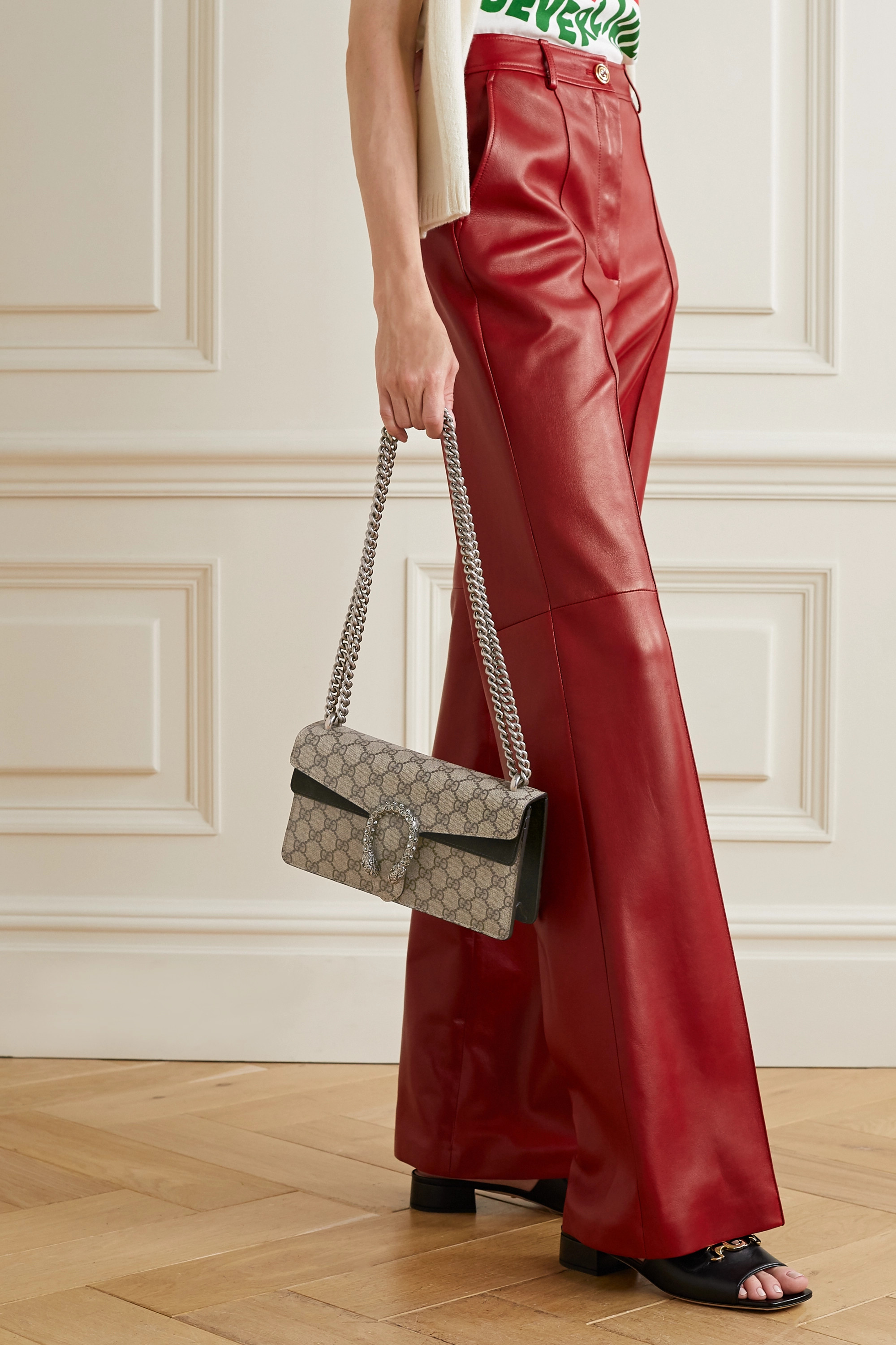 Gucci Dionysus small embellished printed coated-canvas and suede shoulder bag