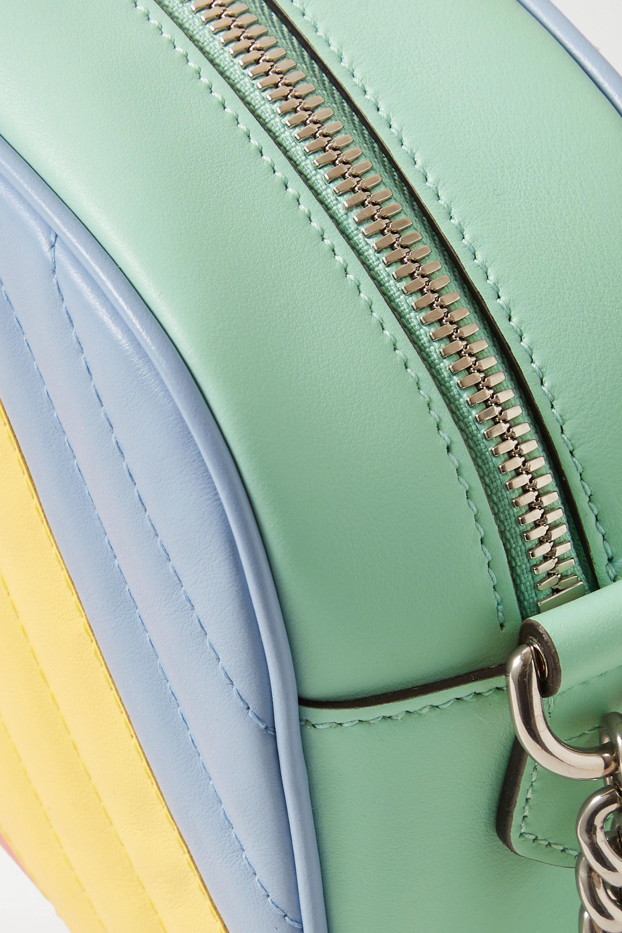 Gucci GG Marmont Camera 拼色绗缝皮革单肩包