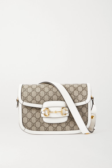 Gucci - 1955 Horsebit Small Leather-trimmed Printed Coated-canvas Shoulder Bag