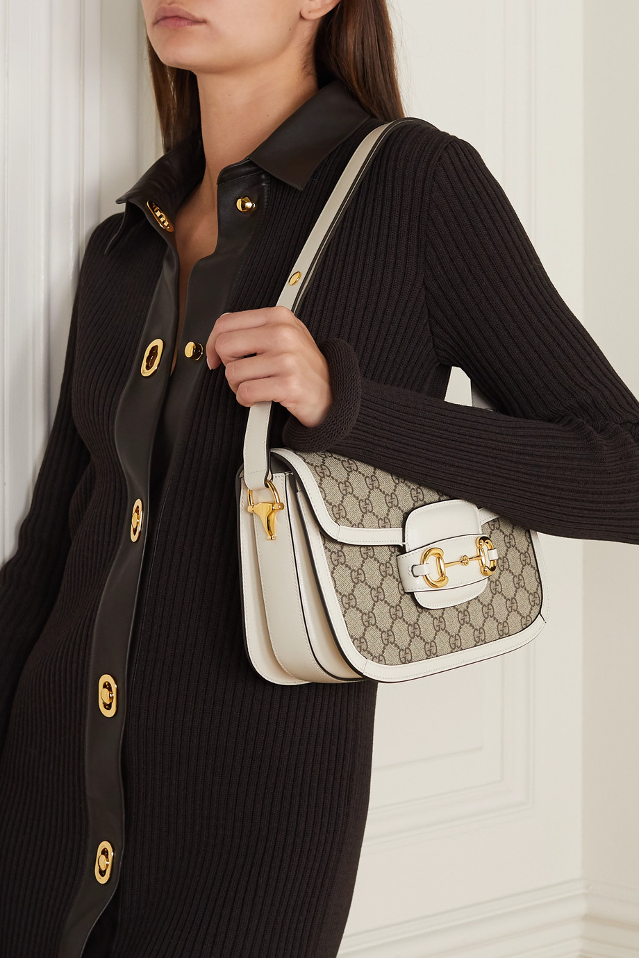 Gucci 1955 马衔扣细节皮革边饰印花涂层帆布小号单肩包