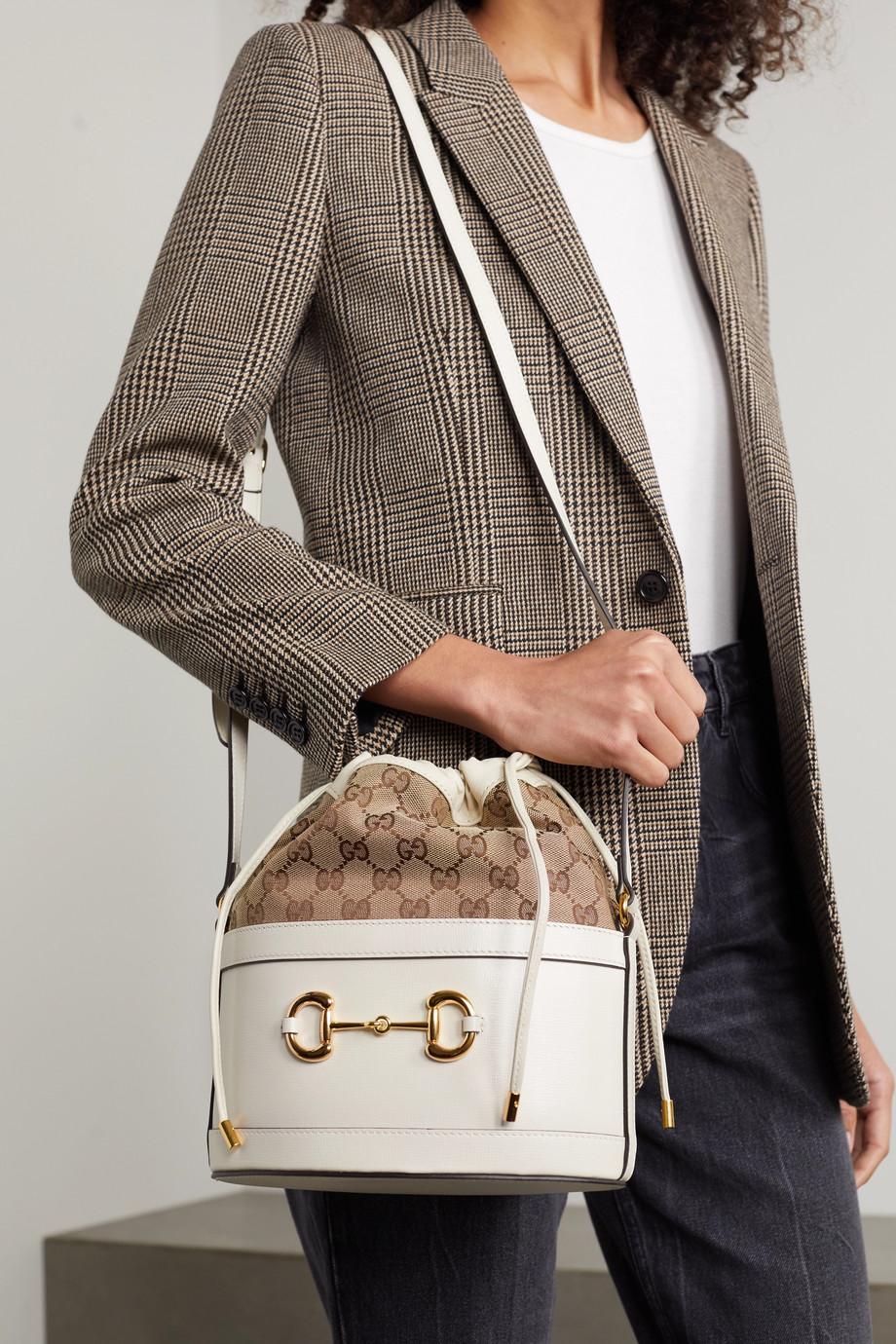 Gucci Sac seau en cuir et en toile enduite imprimée 1955 Horsebit