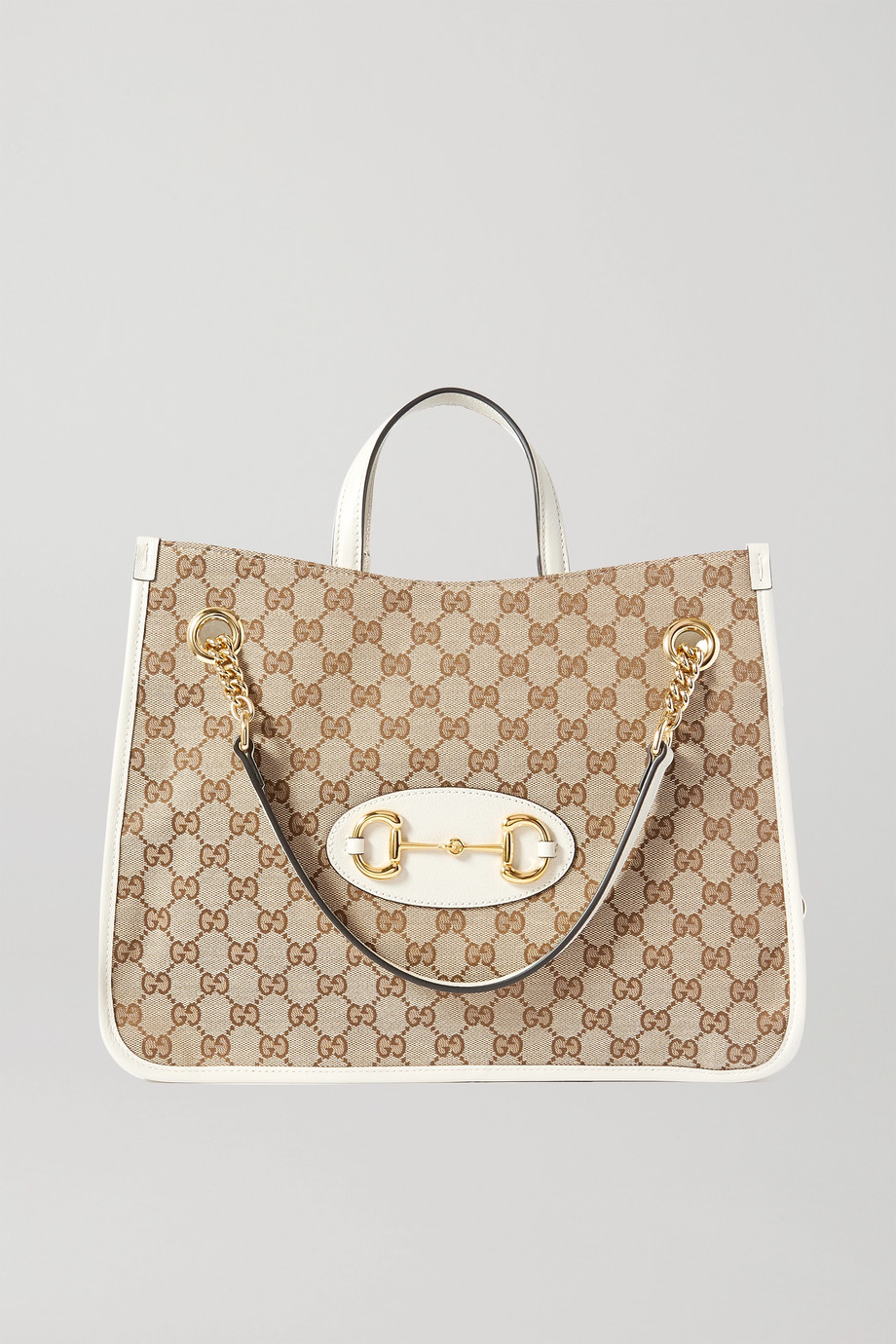 Gucci 1955 Horsebit large leather-trimmed printed coated-canvas tote