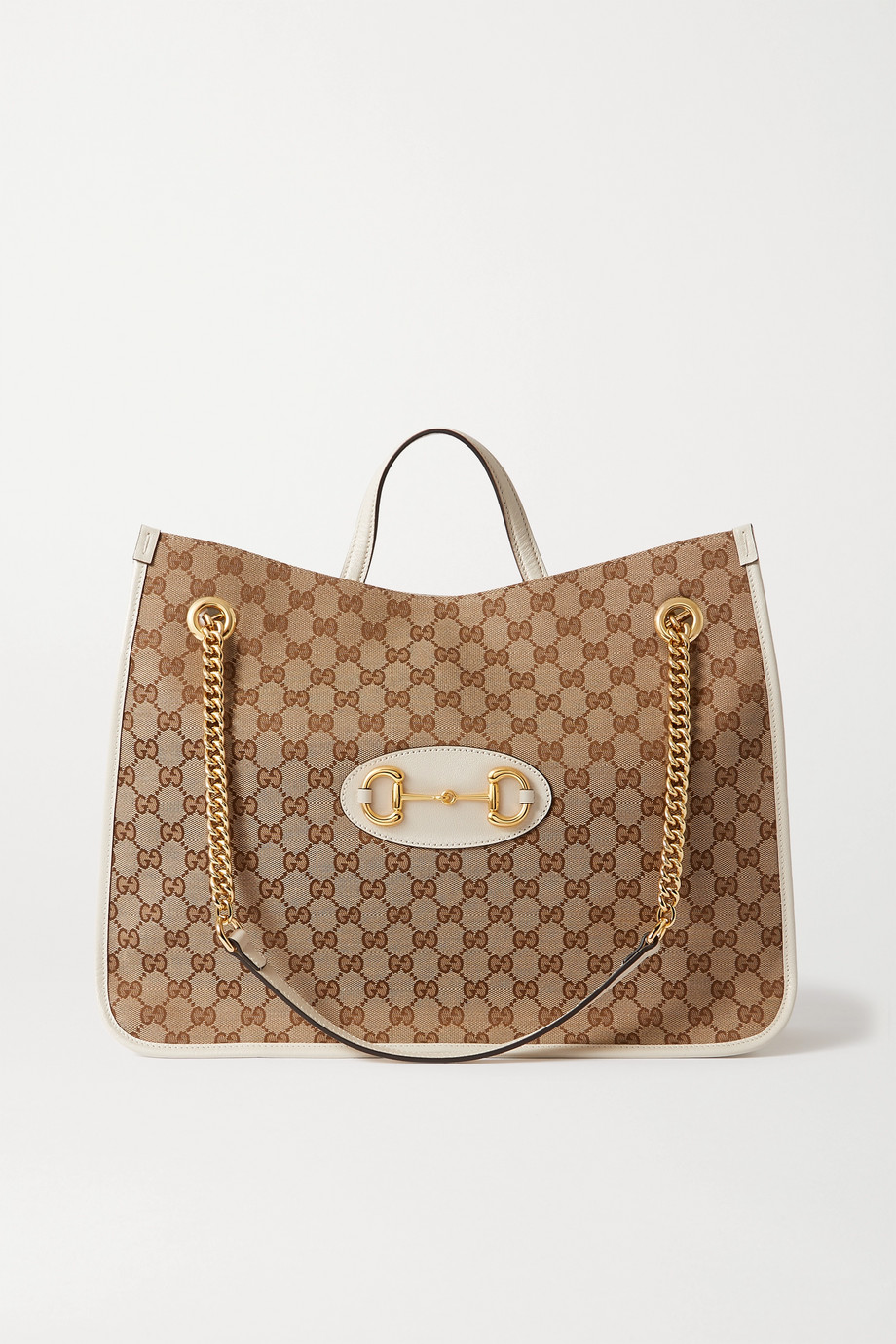 Gucci 1955 Horsebit large leather-paneled printed coated-canvas tote
