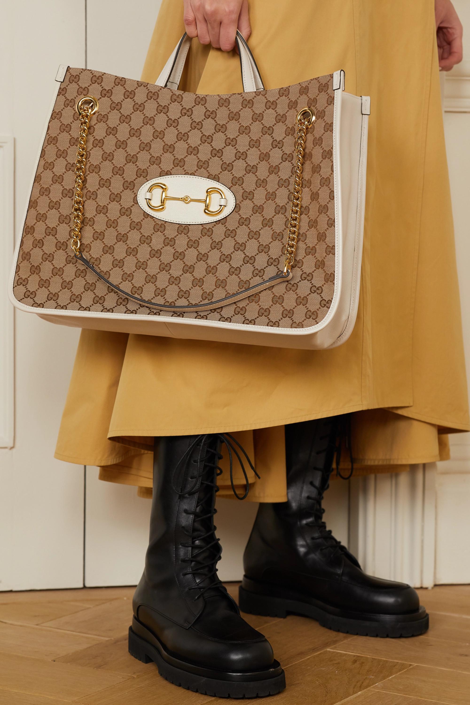 Gucci Sac à main en toile enduite imprimée et en cuir 1955 Horsebit Large