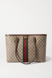 Gucci Ophidia medium leather-trimmed printed coated-canvas tote