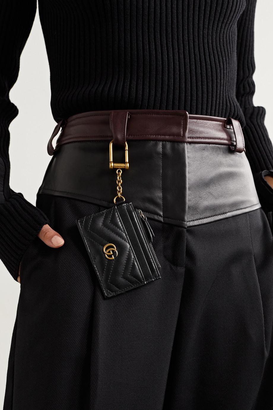 Gucci Porte-cartes en cuir GG Marmont